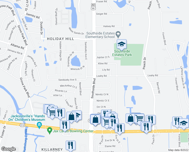 map of restaurants, bars, coffee shops, grocery stores, and more near Southside Blvd & Leahy Rd in Jacksonville
