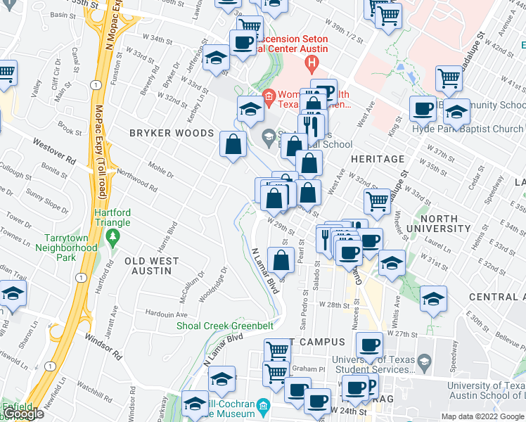 map of restaurants, bars, coffee shops, grocery stores, and more near N Lamar Blvd & W 29th St in Austin