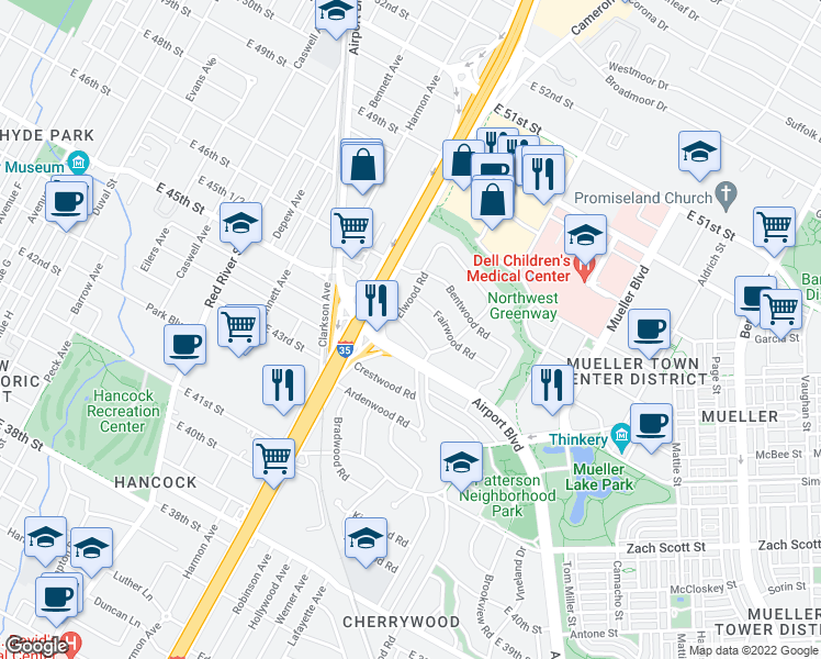 map of restaurants, bars, coffee shops, grocery stores, and more near Fernwood Rd in Austin