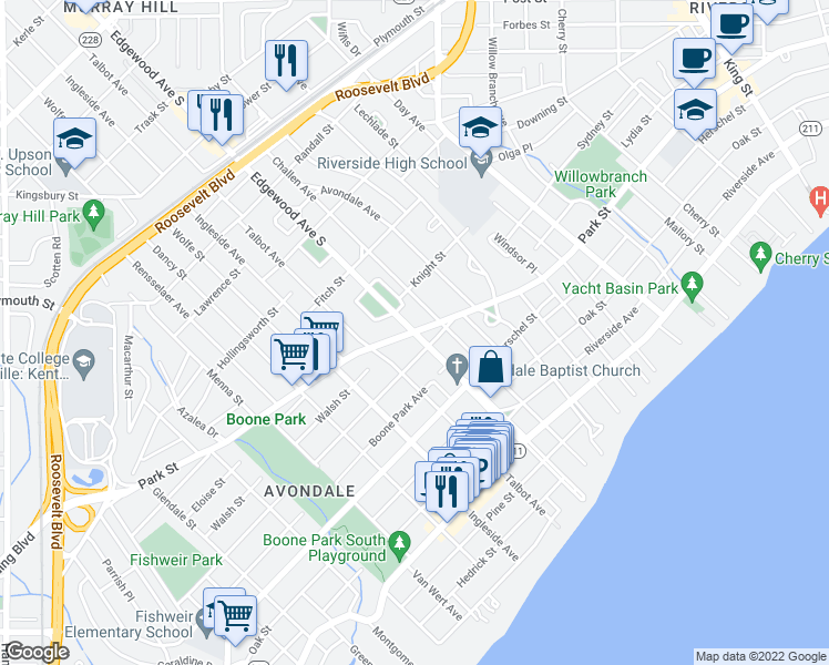 map of restaurants, bars, coffee shops, grocery stores, and more near Park St & Edgewood Ave S in Jacksonville