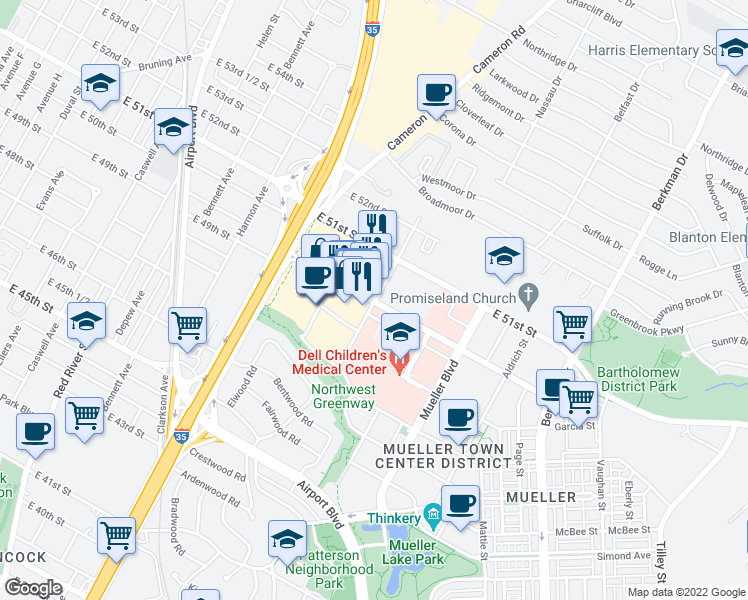 map of restaurants, bars, coffee shops, grocery stores, and more near Barbara Jordan Blvd in Austin