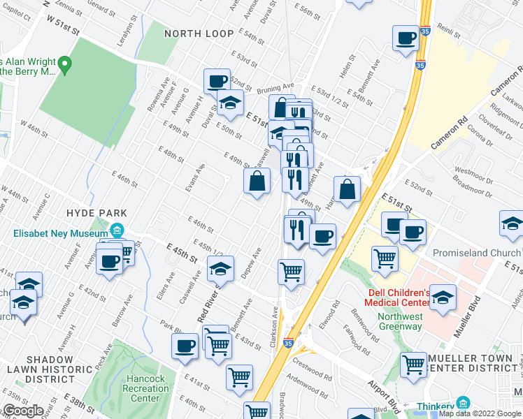 map of restaurants, bars, coffee shops, grocery stores, and more near Red River Street & East 48th Street in Austin