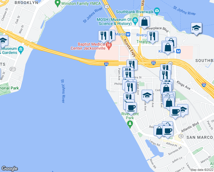 map of restaurants, bars, coffee shops, grocery stores, and more near 1541 Le Baron Ave in Jacksonville