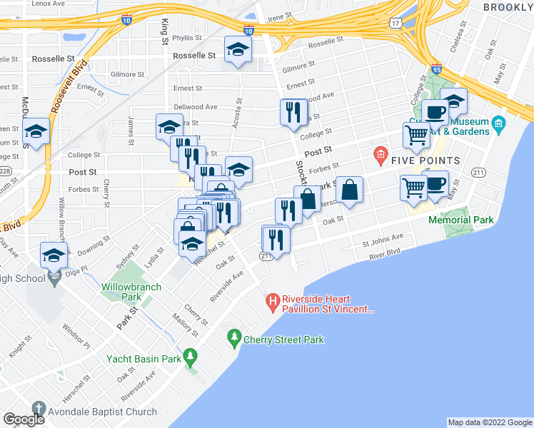 map of restaurants, bars, coffee shops, grocery stores, and more near 2602 Herschel Street in Jacksonville