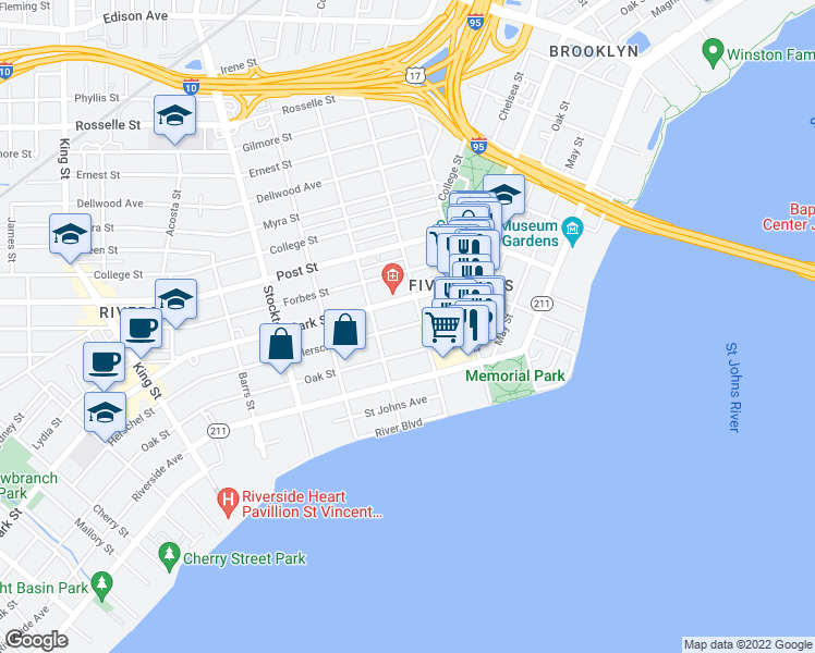 map of restaurants, bars, coffee shops, grocery stores, and more near 2118 Herschel Street in Jacksonville