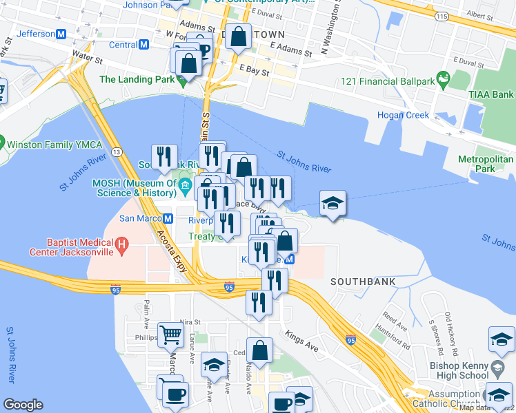 map of restaurants, bars, coffee shops, grocery stores, and more near 1478 Riverplace Boulevard in Jacksonville
