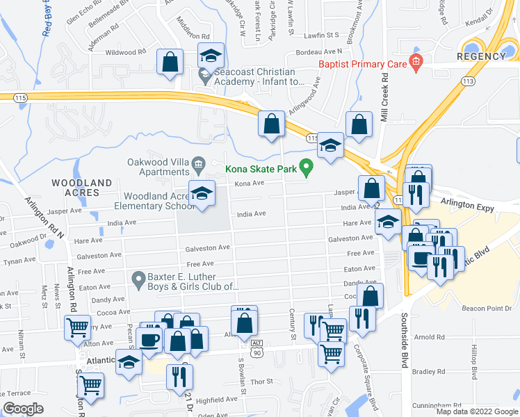 map of restaurants, bars, coffee shops, grocery stores, and more near 8438 India Avenue in Jacksonville