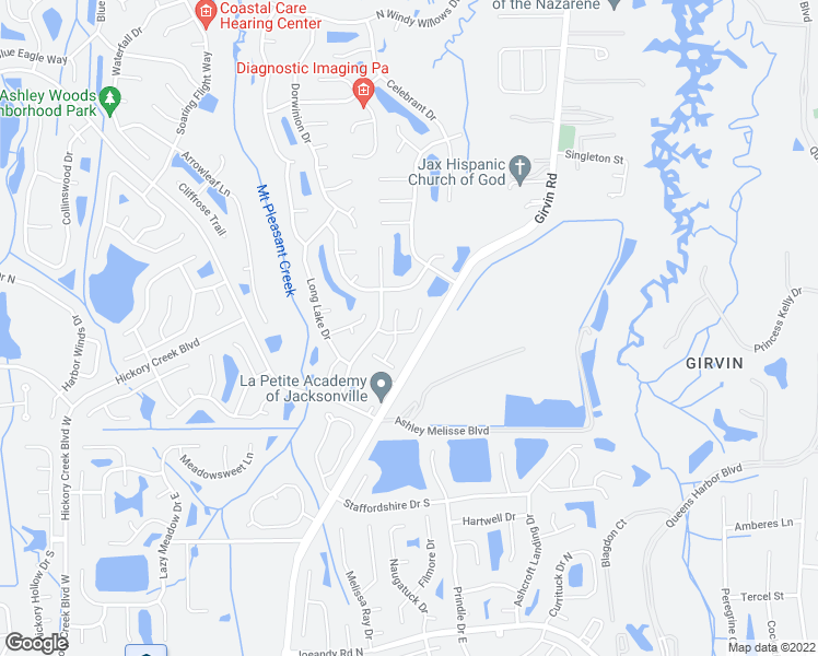 map of restaurants, bars, coffee shops, grocery stores, and more near 12615 Enchanted Hollow Drive in Jacksonville