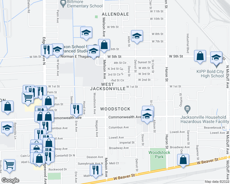 map of restaurants, bars, coffee shops, grocery stores, and more near 3108 Neff St in Jacksonville