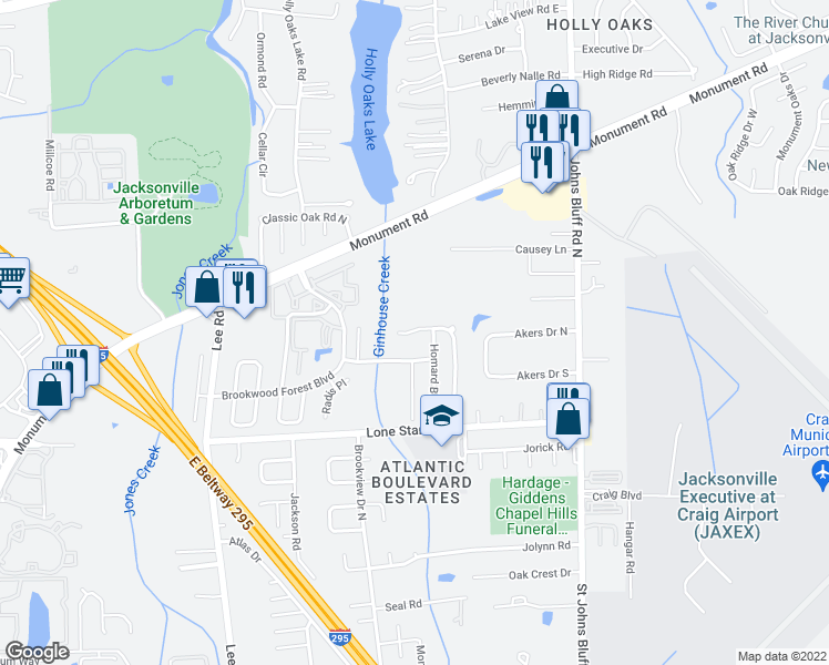 map of restaurants, bars, coffee shops, grocery stores, and more near 10360 Brookwood Bluff Rd N in Jacksonville