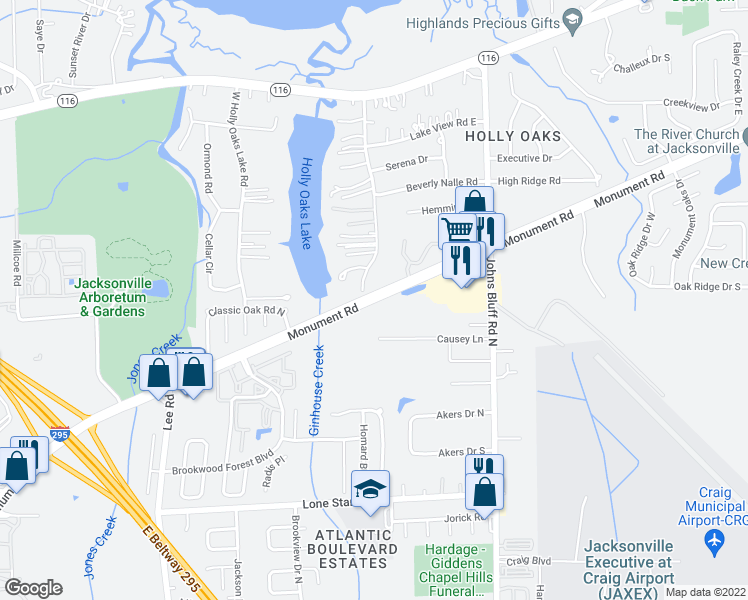 map of restaurants, bars, coffee shops, grocery stores, and more near Monument Rd in Jacksonville