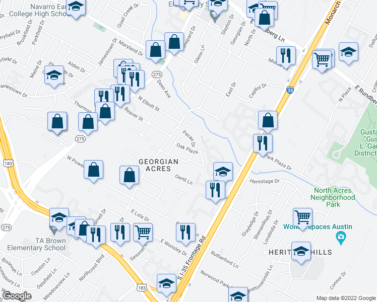 map of restaurants, bars, coffee shops, grocery stores, and more near 309 Oak Plaza in Austin
