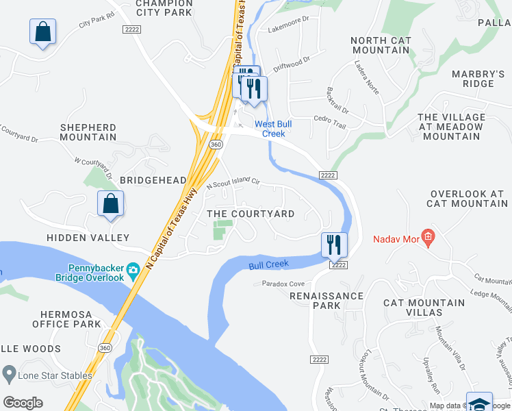 map of restaurants, bars, coffee shops, grocery stores, and more near 5800 Harrington Cove in Austin