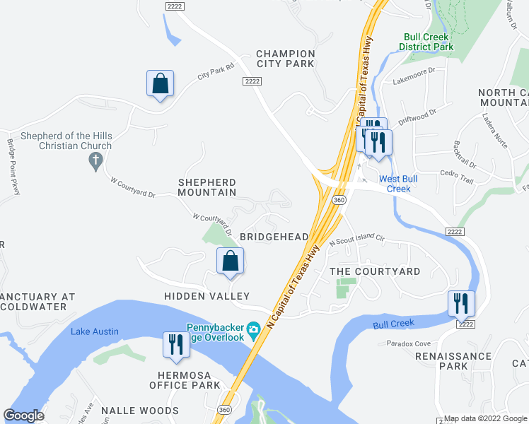 map of restaurants, bars, coffee shops, grocery stores, and more near 6000 Shepherd Mountain Cove in Austin