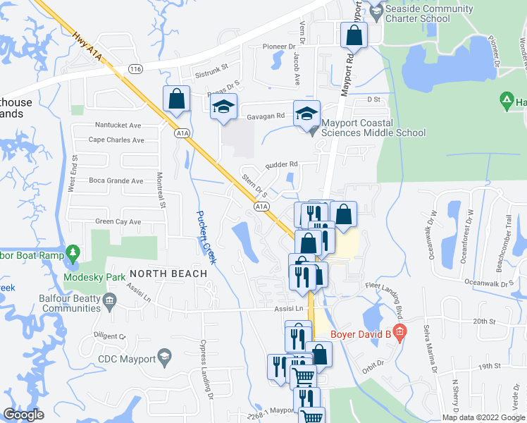 map of restaurants, bars, coffee shops, grocery stores, and more near 2610-7 Sr A1A Ap in Jacksonville