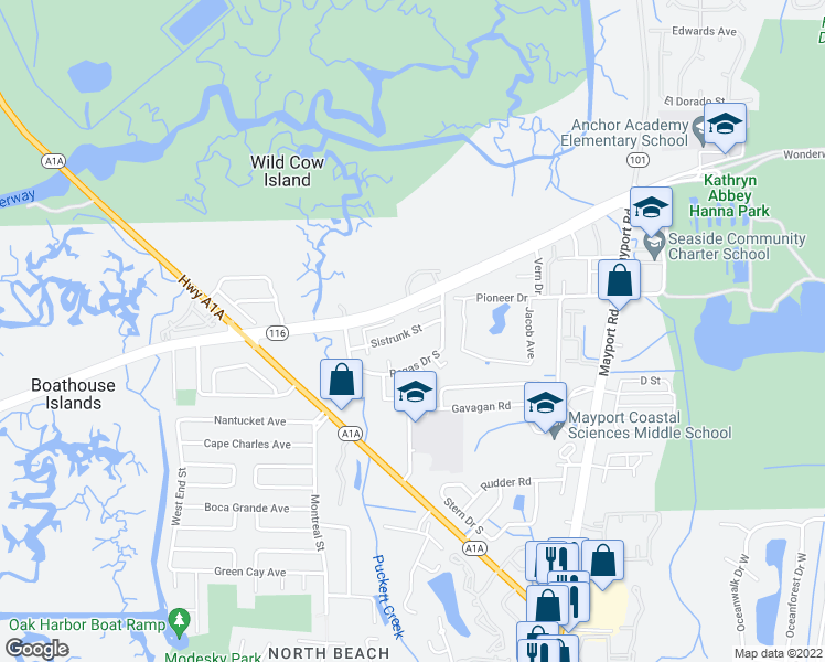 map of restaurants, bars, coffee shops, grocery stores, and more near 1020 Sistrunk St in Atlantic Beach