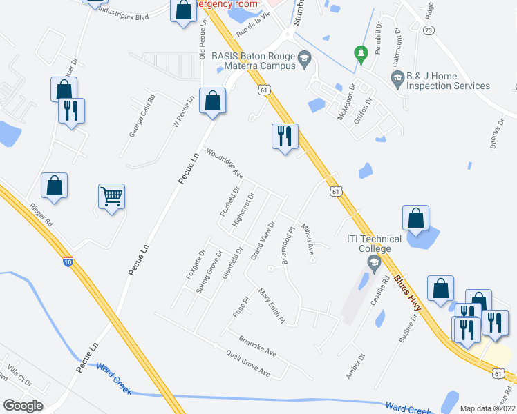 map of restaurants, bars, coffee shops, grocery stores, and more near 8546 Glenfield Drive in Baton Rouge