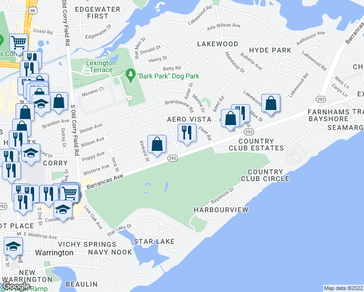 map of restaurants, bars, coffee shops, grocery stores, and more near 13 Marine Drive in Pensacola