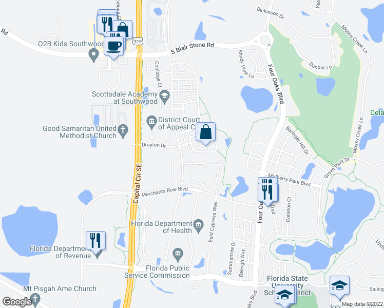 map of restaurants, bars, coffee shops, grocery stores, and more near 3799 Overlook Drive in Tallahassee