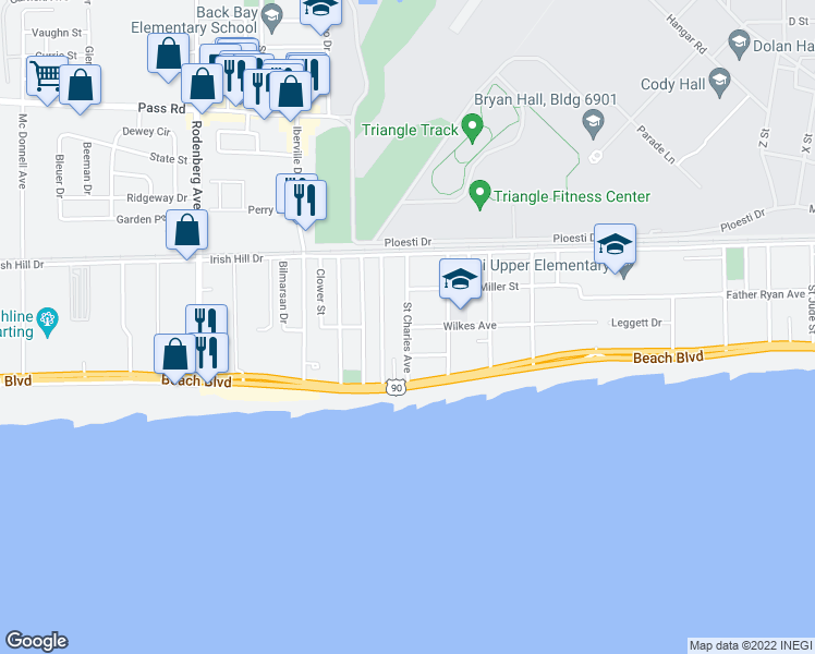 map of restaurants, bars, coffee shops, grocery stores, and more near St Charles Ave in Biloxi