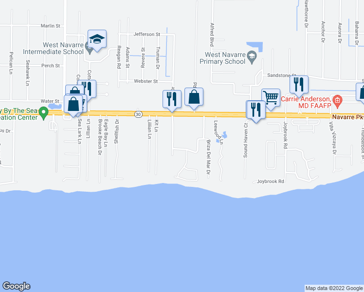 map of restaurants, bars, coffee shops, grocery stores, and more near 7140 Blue Jack Drive in Navarre