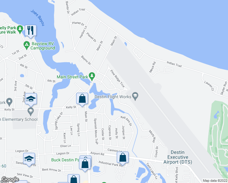map of restaurants, bars, coffee shops, grocery stores, and more near 822 N Lakeside Dr in Destin