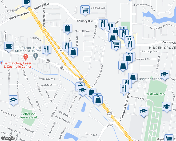 map of restaurants, bars, coffee shops, grocery stores, and more near 4701 Southpark Drive in Baton Rouge