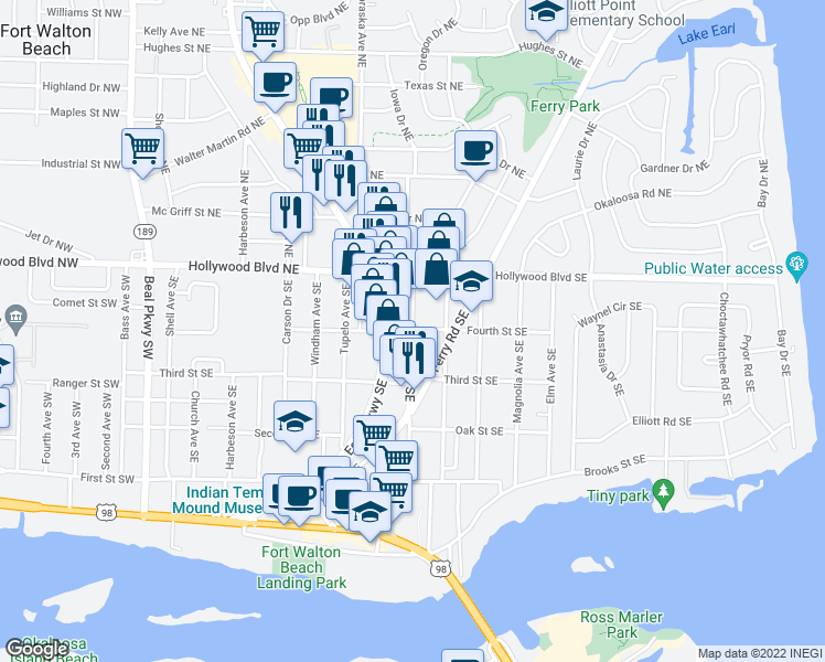 map of restaurants, bars, coffee shops, grocery stores, and more near 11 Chestnut Avenue Southeast in Fort Walton Beach