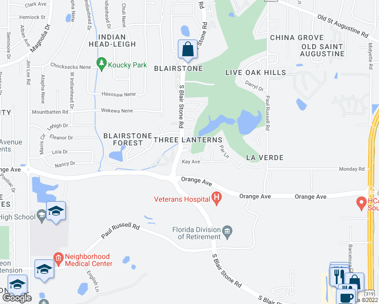 map of restaurants, bars, coffee shops, grocery stores, and more near 1583 Cheyenne Ct in Tallahassee