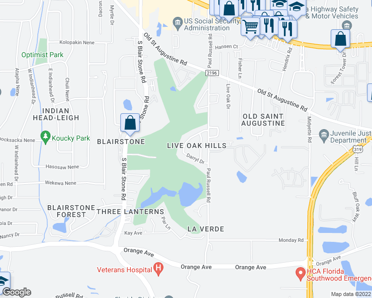 map of restaurants, bars, coffee shops, grocery stores, and more near 1831 Larette Dr in Tallahassee
