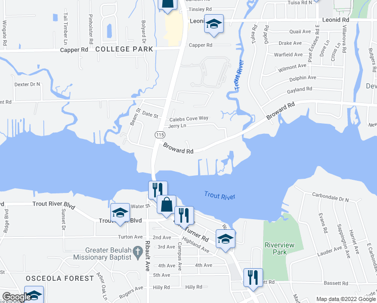 map of restaurants, bars, coffee shops, grocery stores, and more near Broward Road in Jacksonville