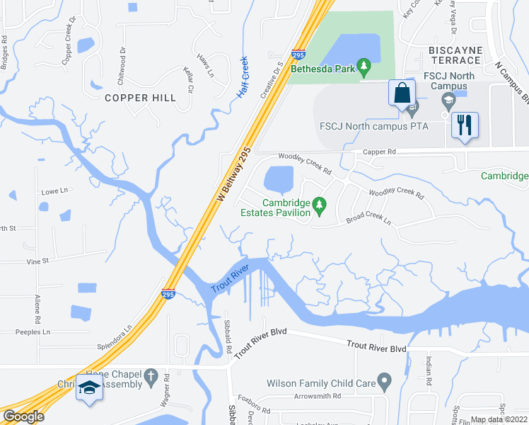 map of restaurants, bars, coffee shops, grocery stores, and more near 4451 Marsh Hawk Drive South in Jacksonville