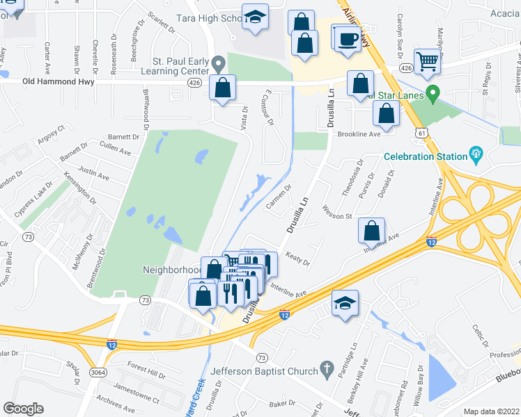 map of restaurants, bars, coffee shops, grocery stores, and more near 2755 Fairway Dr in Baton Rouge