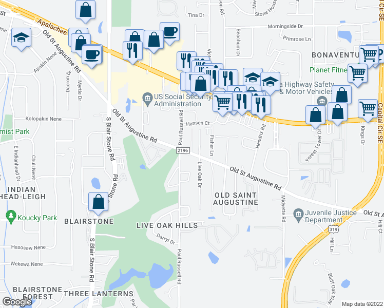 map of restaurants, bars, coffee shops, grocery stores, and more near Old St Augustine Rd & Castelnau Ct in Tallahassee