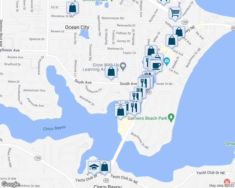 map of restaurants, bars, coffee shops, grocery stores, and more near 120 Monahan Dr in Fort Walton Beach