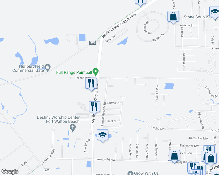 map of restaurants, bars, coffee shops, grocery stores, and more near 1618 Jennifer Ct in Fort Walton Beach