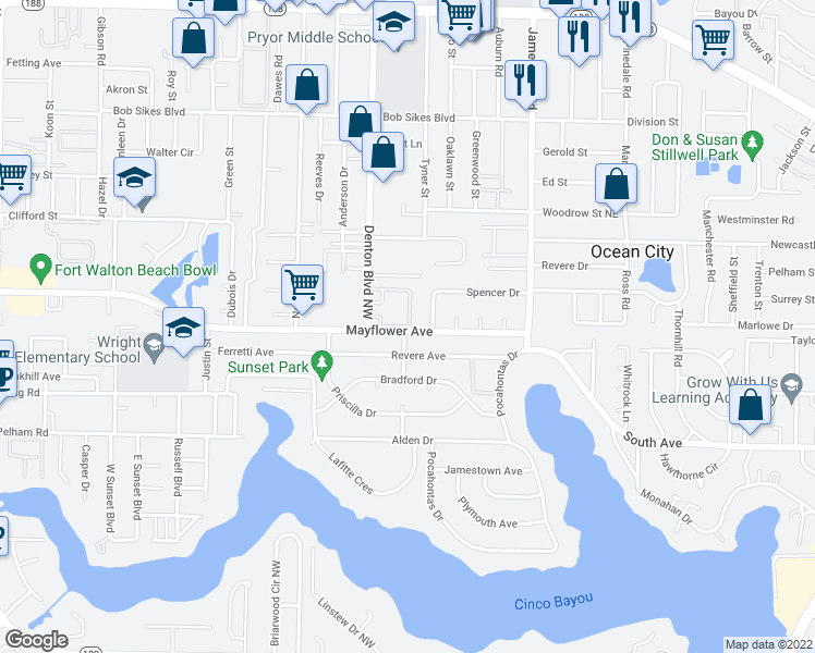 map of restaurants, bars, coffee shops, grocery stores, and more near 632 Mayflower Avenue in Fort Walton Beach