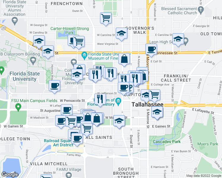 map of restaurants, bars, coffee shops, grocery stores, and more near 405 West College Avenue in Tallahassee