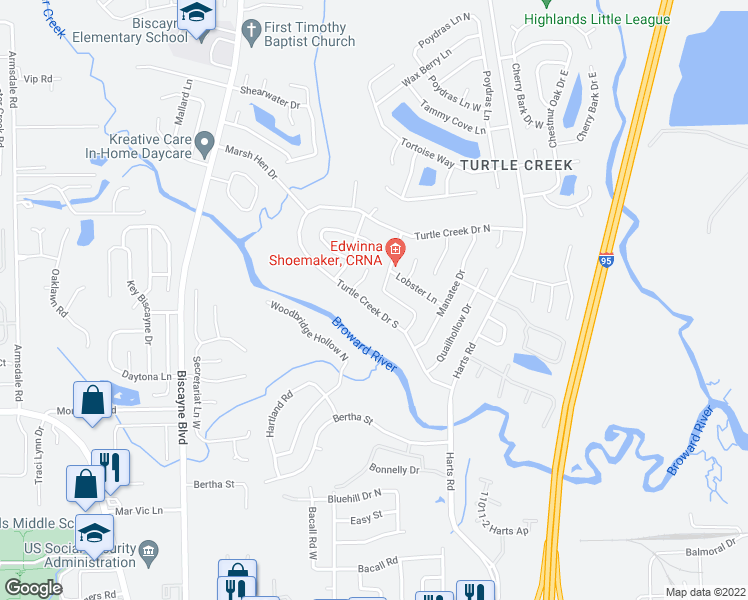 map of restaurants, bars, coffee shops, grocery stores, and more near 1105 Turtle Creek Dr S in Jacksonville