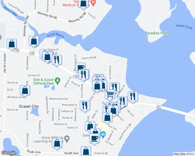 map of restaurants, bars, coffee shops, grocery stores, and more near 107 David St in Fort Walton Beach