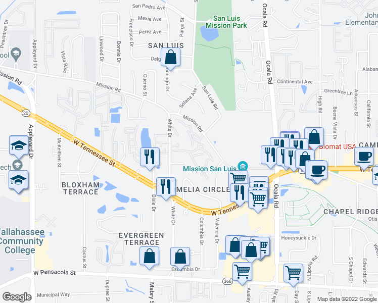map of restaurants, bars, coffee shops, grocery stores, and more near 783 Timberway Ct in Tallahassee