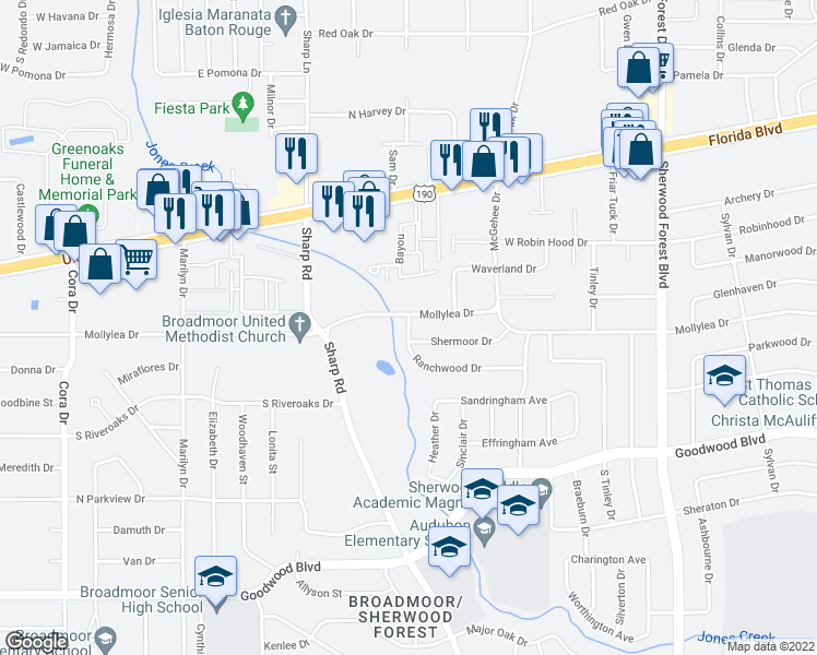 map of restaurants, bars, coffee shops, grocery stores, and more near 401-499 Ranchwood Dr in Baton Rouge