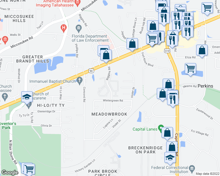 map of restaurants, bars, coffee shops, grocery stores, and more near 27 Riggins Road in Tallahassee