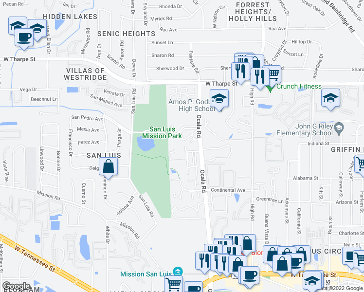 map of restaurants, bars, coffee shops, grocery stores, and more near 1350 Rumba Ln in Tallahassee