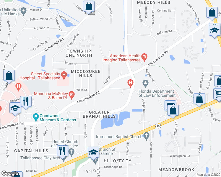 map of restaurants, bars, coffee shops, grocery stores, and more near 1600-1984 Phillips Road in Tallahassee