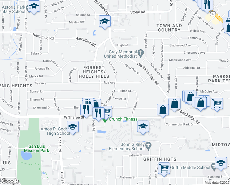 map of restaurants, bars, coffee shops, grocery stores, and more near 1511 Hilltop Drive in Tallahassee