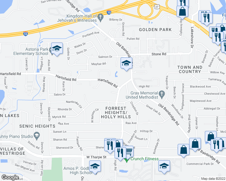 map of restaurants, bars, coffee shops, grocery stores, and more near 1706 Verina Ct in Tallahassee