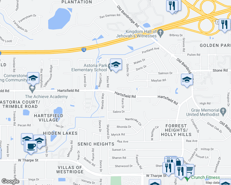 map of restaurants, bars, coffee shops, grocery stores, and more near Hartsfield Rd & Vinkara Dr in Tallahassee