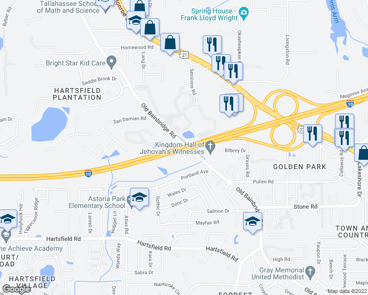 map of restaurants, bars, coffee shops, grocery stores, and more near 2640 Old Bainbridge Road in Tallahassee