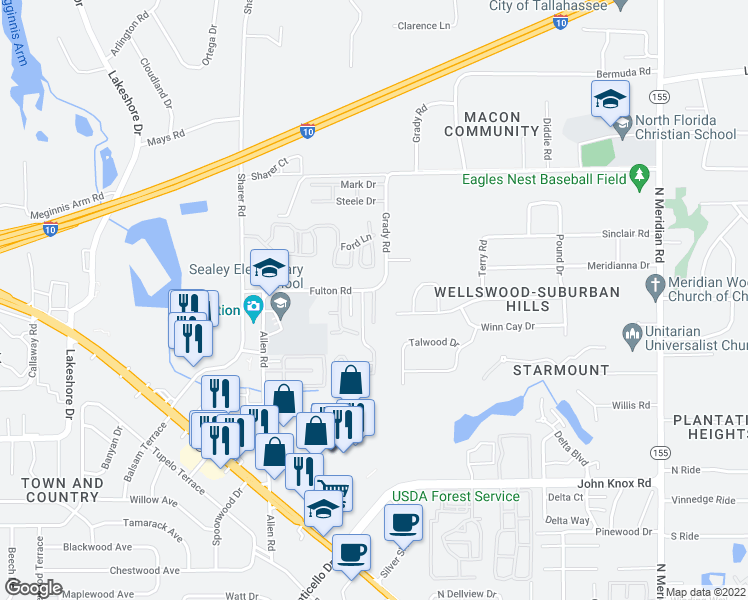 map of restaurants, bars, coffee shops, grocery stores, and more near 2881 Waterbrook Way in Tallahassee